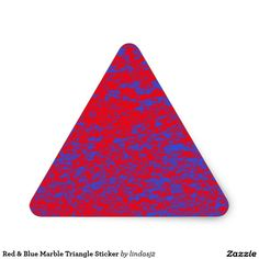 Red & Blue Marble Triangle Sticker