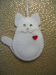 This item is unavailable Crochet Christmas Ornaments, Felt Ornaments, Felt Christmas, Fabric Crafts, Sewing Crafts, Sewing Projects, Felt Cat, Felt Patterns, Felt Fabric