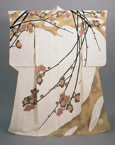"thekimonogallery: ""Crepe yuzen visiting kimono named ""early spring"" 1955 National Museum of Modern Art, Tokyo. Created by kimono artist Moriguchi HanaHiroshi """