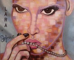 Lara by STEFANO acrylic on canvas(50x70cm) fashion art Lara Stone 2015