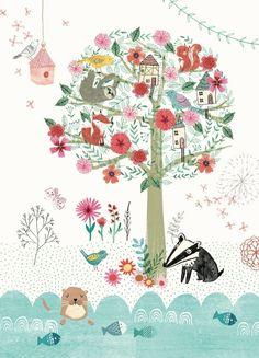 Ansichtkaart Magical Tree bosdieren kaartje ansichtkaart postkaart kinderkaartje fantasie magisch decoreren kinderkamer babykamer
