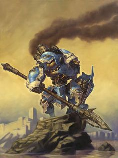 Centurion - by Matthew D. Wilson.  The Centurion is a Steam and Magic powered War Mech from the tabletop miniatures game Warmachine by Privateer Press. A.