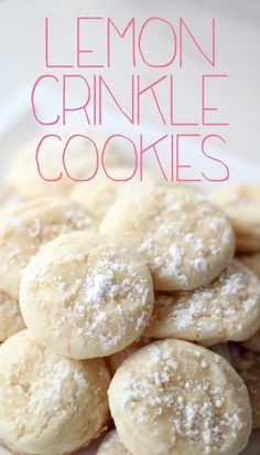 Lemon Crinkle Cookies: 1/2 C butter (one stick), 1 Cup sugar, 1 egg, 1/2 teaspoon vanilla, 1 teaspoon lemon zest, 1.5 Tablespoon lemon juice, 1/4 teaspoon salt, 1/4 teaspoon baking powder, 1/8 teaspoon baking soda, 1.5 Cups all purpose flour, 1/2 Cup powdered sugar