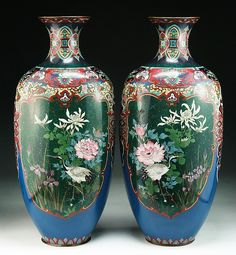 Pair Big Japanese Antique Silver Ando Cloisonne Vases: of 19th Century  Dimensions: H: 18-1/4""
