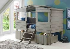 Create a statement in son or daughter's dream room with our unique tree house low loft beds for kids in gray. This fun bed is designed to inspire creative play and dreamy nights! This twin size bed is