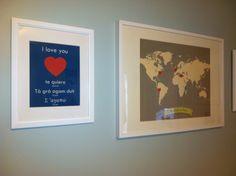 Project Nursery - Girl Blue and Gray Striped Nursery Wall Art