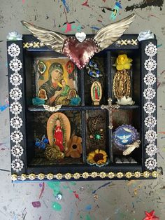 Shadow Box frame Mexican style with virgin mary Guadalupe  beautiful shadow box // dark blue gold// Mexican folk art upcycled