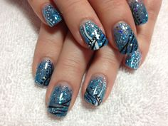 Blue glitter gel design on polish#trend#beauty#summer#fall