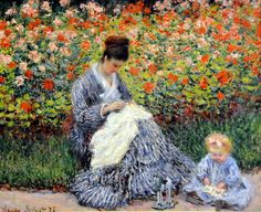 Claude Monet - Camille Monet and a Child in the Artists Garden in Argenteuil at Boston Museum of Fine Arts
