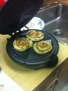 Made Cinnamon rolls on our quesadilla maker, cooks in like 2-3mins. Brilliant.