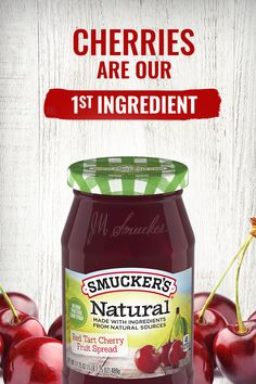 Cherries are our number one ingredient in Smucker's® Natural Red Tart Cherry Fruit Spread. Enjoy the fresh fruit taste and no high fructose corn syrup. Tap the Pin to Buy Now! Cheese Recipes, Chicken Recipes, Vegan Recipes, Cooking Recipes, Cookbook Recipes, Potato Recipes, Cherry Fruit, Cherry Tart, Fresh Fruit