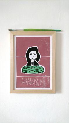 I carried a watermelon - Linocut print von OhLino auf Etsy I Carried A Watermelon, Der Computer, Linocut Prints, Inspiration, Etsy, Paper, Watermelon, Stocking Stuffers, Memories