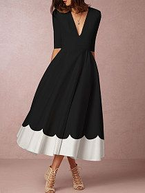 Round Neck Color Date Block Maxi Dress - Superyeap.com