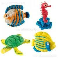 Ocean animals fish, sea horse, tortoise made from playmais or magic nuudles- Buscar con Google