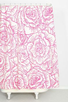 Plum & Bow Inked Rose Shower Curtain #urbanoutfitters