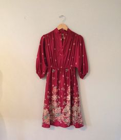 Vintage ruby red floral dress (L) on Etsy, $13.00
