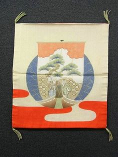 This is a vintage fukusa with a design of wave and 'Takasago'(a Noh play), which is dyed.  It has kanoko dots and Kanji of 'Kotobuki'(happiness) motifs, which is dyed.