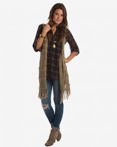 My Type Of Style Plaid Blouse - Navy & Pumpkin from Apricot Lane Boutique: $33