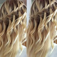such a pretty waterfall braid & loose curls from hairandbraids