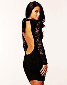 Sexy Black Backless Lace Dress Chicago Nightlife club wear!!
