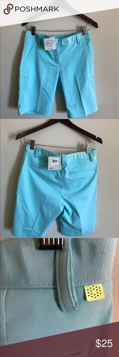 NWT Puma Golf Tech Bermuda Shorts Aqua Splash ♛ Size 0 in womens.  ♛ Inseam is 9 inches.  ♛ No holes, stains, or flaws.   ✿ Excellent condition   ✿ Smoke free home   ✿ Ships within one day of payment   ♛ Thank you for looking &   feel free to check out my other items! Puma Shorts Bermudas