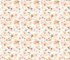 Indy Bloom Peachy Baby Large Floral fabric by indybloomdesign on Spoonflower…