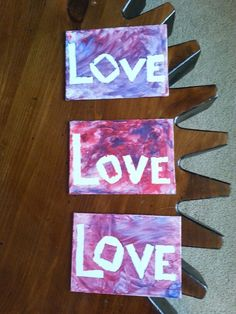 Finger paint, canvas, tape, and a toddler. Perfect gifts for multiple grandmas mother's day presents.
