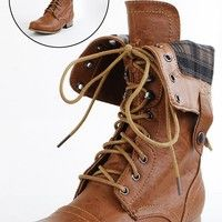 Jetta25 Combat Back Zip Mid Calf Boots WHISKY