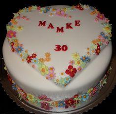 torta, cake srdce a kvety