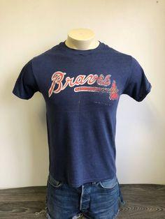 ATLANTA BRAVES Shirt 80 s Vintage  Super Soft   Thin Distressed Classic  Script Baseball Tshirt  MLB Tomahawk UsA Made Blue Medium ae7c4eb67