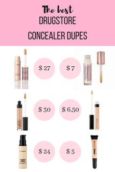 best drugstore concealer dupes - affordable and just as good as the high end. The best drugstore concealer dupes - affordable and just as good as the high end.,The best drugstore concealer dupes - affordable and just as good as the high end. Beste Concealer, Best Drugstore Concealer, Beste Mascara, Good Drugstore Makeup, Make Up Dupes Drugstore, Best Under Eye Concealer, Nars Concealer Dupe, Oily Skin Makeup, Eye Makeup Tips