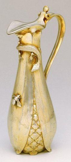 Pitcher, Silver-gilt, c. 1900 -- ARTIST: M. Lucien Hirtz -- 10 1/2 x 5 1/2 x 3 1/2 in. with handle