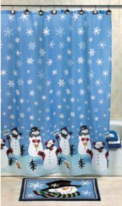 OTC Snowman Christmas Holiday Winter Fabric Shower Curtain 70 Inches