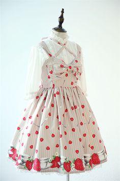 --> #Lolitaupadte: Tanaka.L ~Strawberry & Cup~ JSK and Skirt --> Cheap Prices: http://www.my-lolita-dress.com/tanaka-l-strawberry-cup-printed-lolita-jumper-dress-tl-10