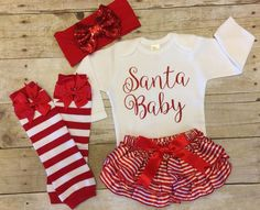 c7d6fd020 Christmas Outfit, Infant Christmas Outfit, Santa Baby Girl Christmas  Bodysuit, Girls Outfit by
