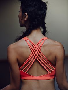 Solid Chic Bra | Picot Performance bra top with strappy lattice back. Fuller…