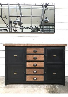Exemple fabrication meuble métallique avec tiroirs bois