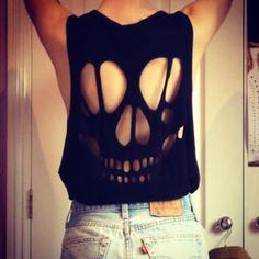 Shirt: fashion love black black skeleton t- skull rips ripped clothing ripped skull skulls grunge