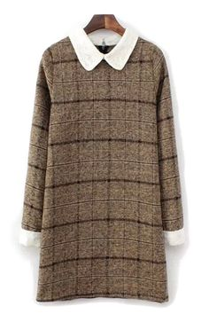 Miss Honey - collared (do we want Peter Pan collar ?) checked dress - preferably in brighter colour