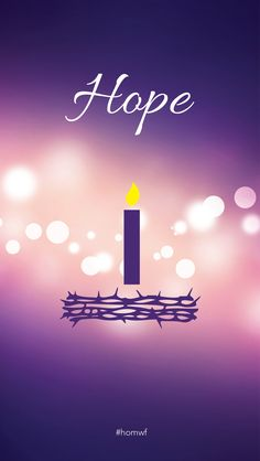 Purple background with white text, and increasing candles on crown of thorns wreath