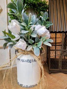 Beautiful Farmhouse White Tulip arrangement with lambs ear