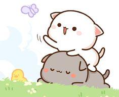 蜜桃猫 Cartoon Drawing Tutorial, Cartoon Girl Drawing, Cartoon Drawings, Cute Drawings, Chibi Cat, Cute Chibi, Cute Couple Cartoon, Cute Cartoon, We Bare Bears Wallpapers