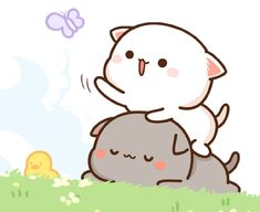 蜜桃猫 Cartoon Drawing Tutorial, Cartoon Girl Drawing, Cartoon Drawings, Cute Drawings, Cat Couple, Cute Couple Cartoon, Cute Cartoon, Chibi Cat, Cute Chibi