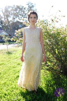 1920s Wedding Dress / Long White Lace Gown   S by LisaOnTheMoon, $325.00