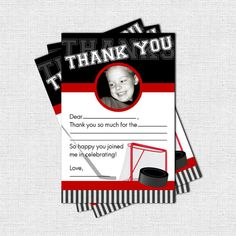 HOCKEY THANK YOU Cards Birthday Party  print your by nowanorris, $9.00