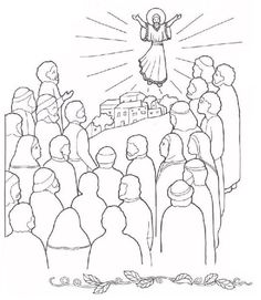 JESUS GOES TO HEAVEN Coloring Page