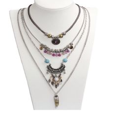 Four multilayer bohemian acrylic necklace Brand new Jewelry Necklaces