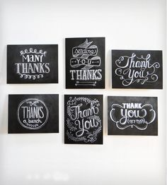 Hand-lettered Thank You cards, Kraft paper Thank You cards, Set of