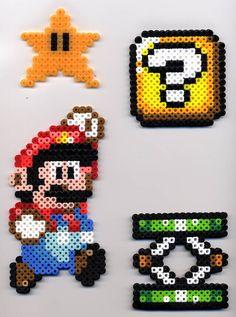 Hama Beads Mario, Perler Bead Mario, Diy Perler Beads, Pearler Beads, Perler Bead Templates, Pearler Bead Patterns, Perler Patterns, Pixel Beads, Fuse Beads