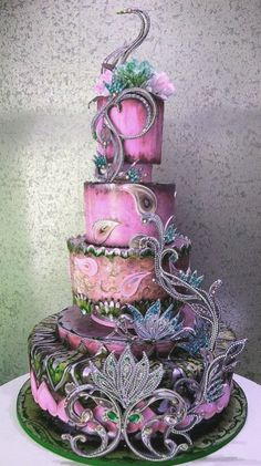 """peacock cake at KG """"The Art of Cakes"""" Visit http://www.brides-book.com for more great wedding resources"""